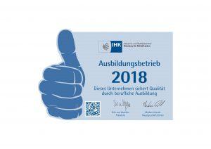 Hans Riegelein & Sohn GmbH & Co.KG IHK Ausbildungsbetrieb 2018 Auszeichnung